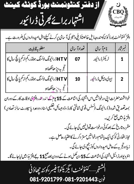 Latest Jobs in Cantonment Board 2021- Cantt Boys Public School & College Latest Jobs