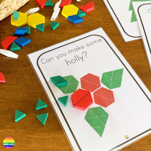 Christmas STEM Challenge Pattern Block Cards | you clever monkey
