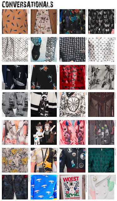 Textile Candy, www.textilecandy.blogspot.co.uk, www.textilecandy.com, Autumn/Winter 2016. A/W16, AW2016, Menswear, mens fashion, fashion trend, trend prediction, Menswear trend, print trend, textile trends, textile design, print design, graphic design, conversational print, motif pattern, repeat pattern, AOP pattern, all over print