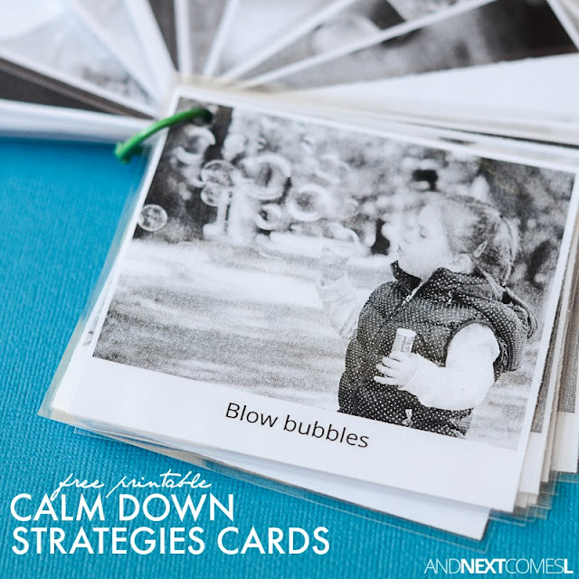 Free printable visual calm down cards for kids