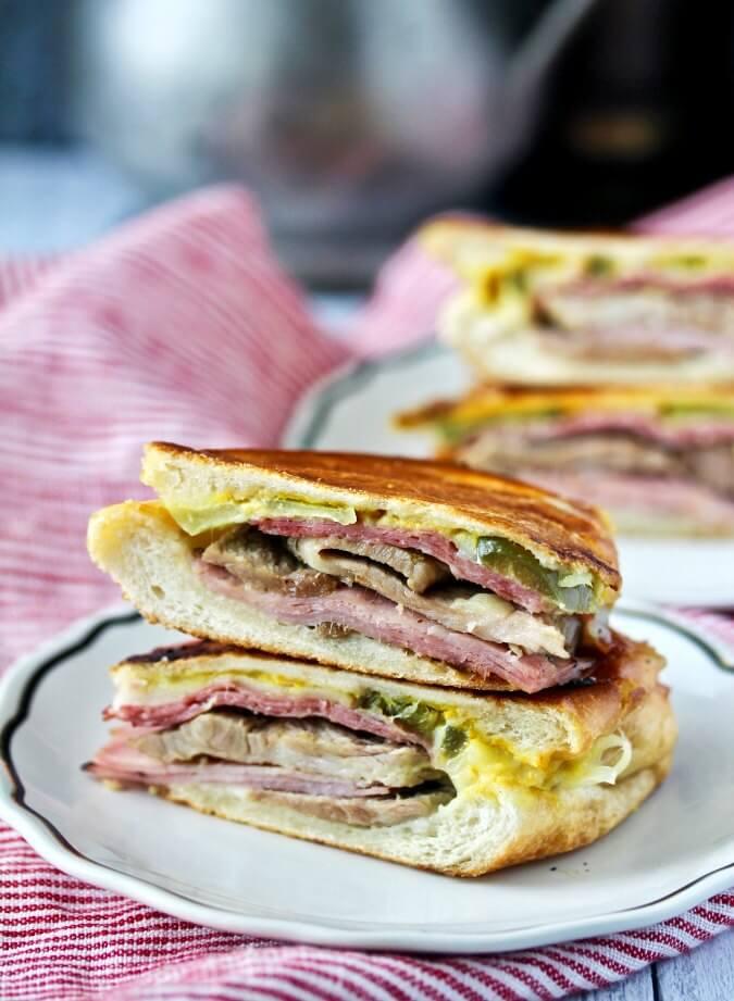 The Cuban Sandwich pressed on plates