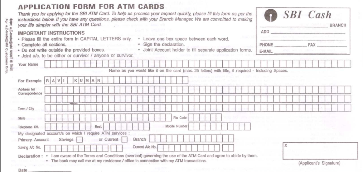sbi atm form kaise bhare