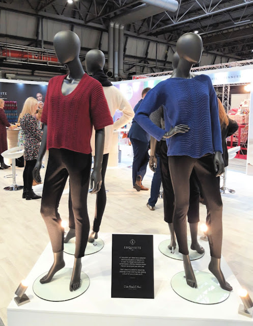 Image shows four mannequins wearing garments knitted out of WYS Exquisite 4ply yarn