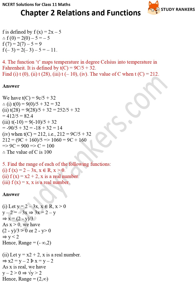 NCERT Solutions for Class 11 Maths Chapter 2 Relations and Functions 8