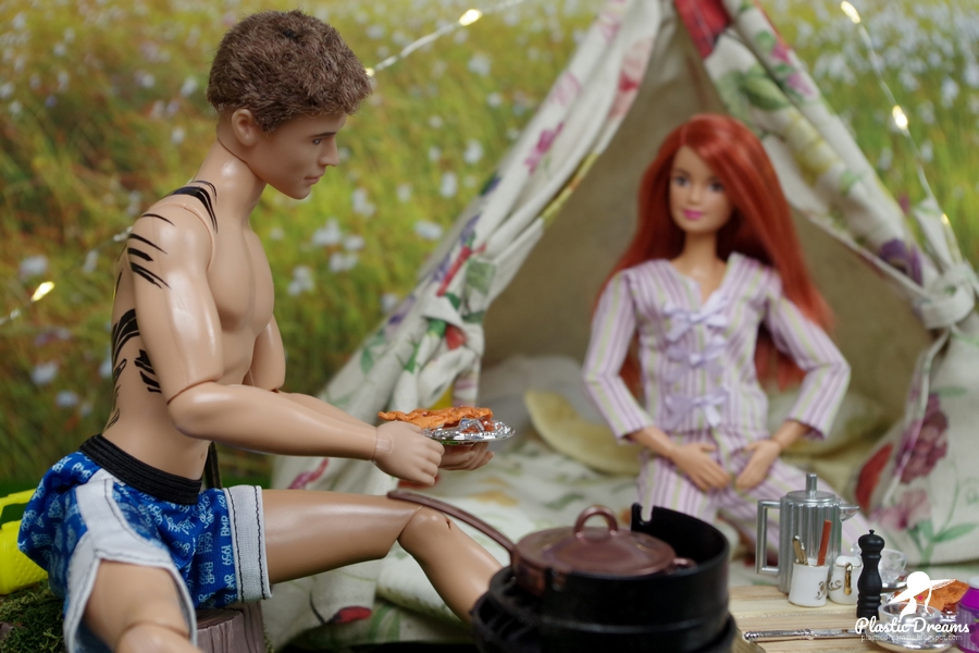 glamping breakfast with barbie