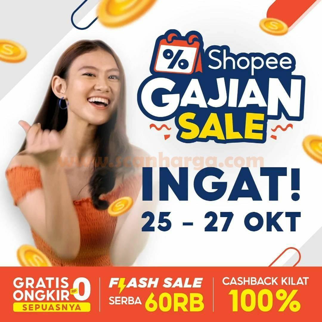 Promo Shopee Gajian Sale - Gratis Ongkir RP0 Sepuasnya, Flash Sale Serba 60RB + CASHBACK Kilat 100%!