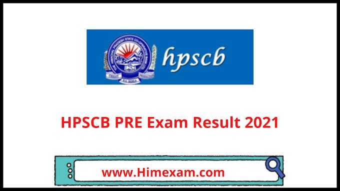HPSCB PRE Exam Result 2021