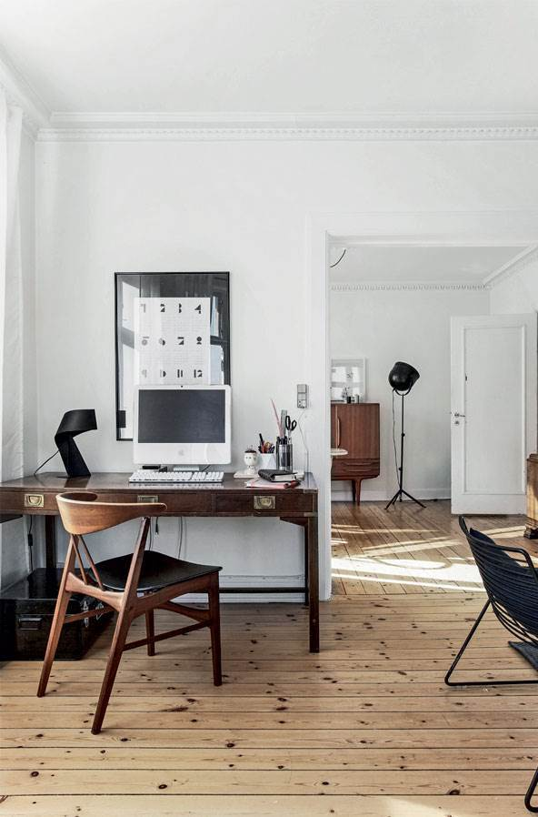 scandinavian apartment with wooden floors, mid century modern furniture