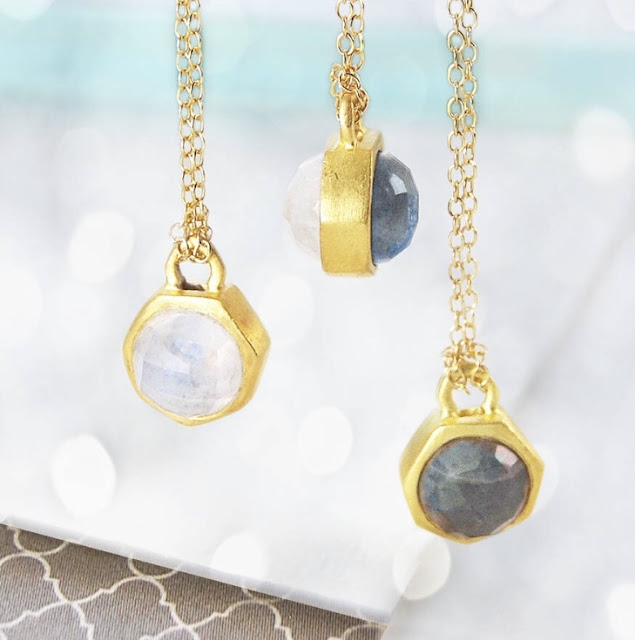 3 necklaces, photograph from http://www.notonthehighstreet.com/embers/product/gold-tiny-moonstone-labdradorite-june-necklace