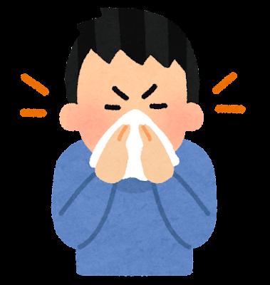 鼻をかむ人のイラスト(男性)