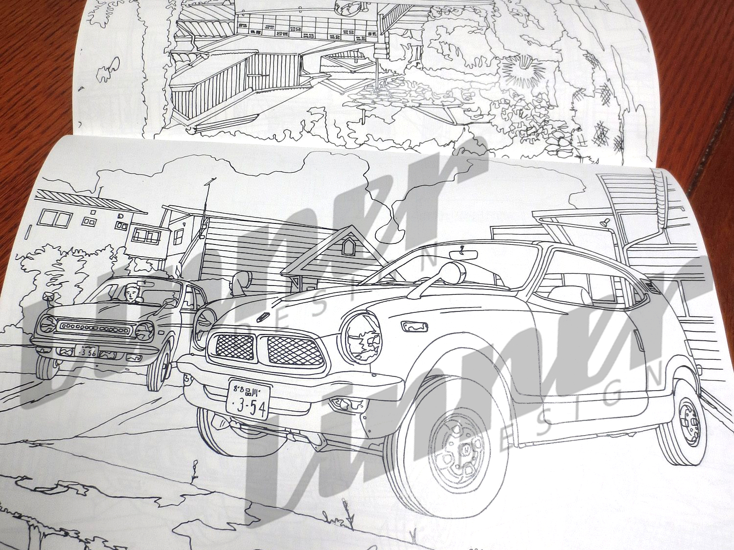 Japanese Classic Cars Coloring Book