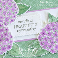 Handmade floral sympathy card using Stampin Up Hydrangea Haven stamp set and die bundle, Delicate Dahlias stamp set, and coloured with Stampin Blends alcohol markers. Card by Di Barnes, Independent Demonstrator in Sydney Australia - colourmehappy - sydneystamper - 2021 saleabration - stampin up australia - 2021 annual catalogue