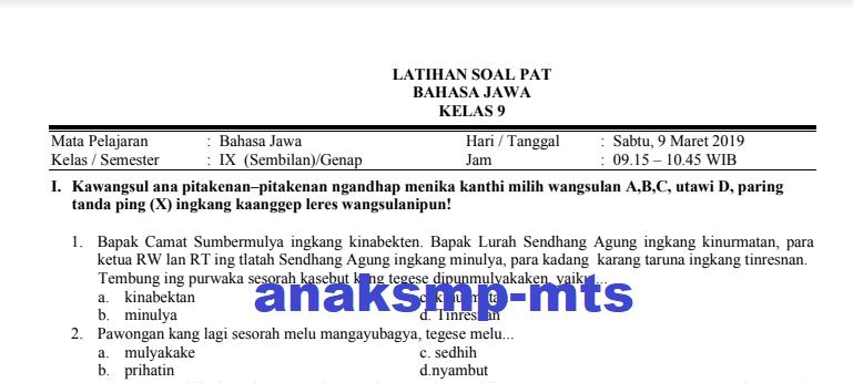 Soal Pat Bahasa Jawa Kelas 9 Anak Smp Mts