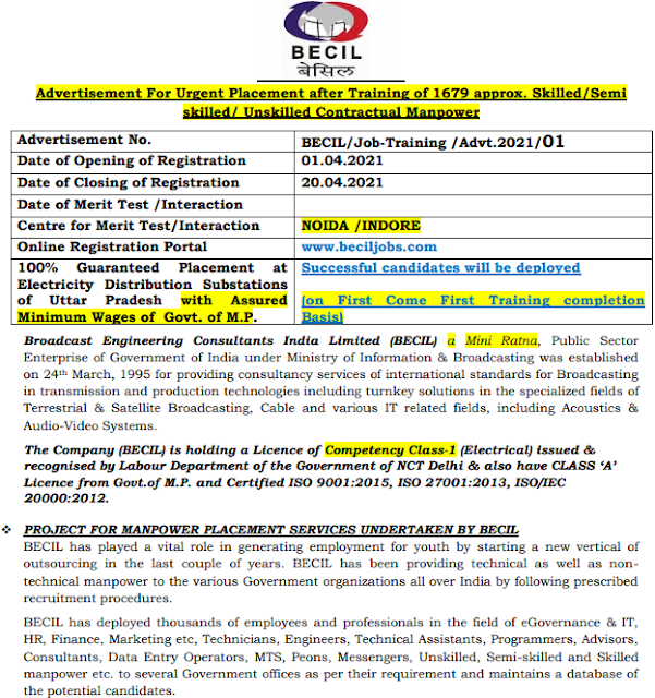 BECIL Skilled Recruitment 2021 Apply Online