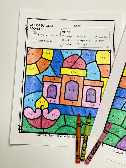 Diwali Color by Number Addition house photo