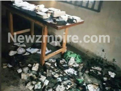Thugs break into INEC Office, 15,000 PVC's burnt and destroyed (Photo)