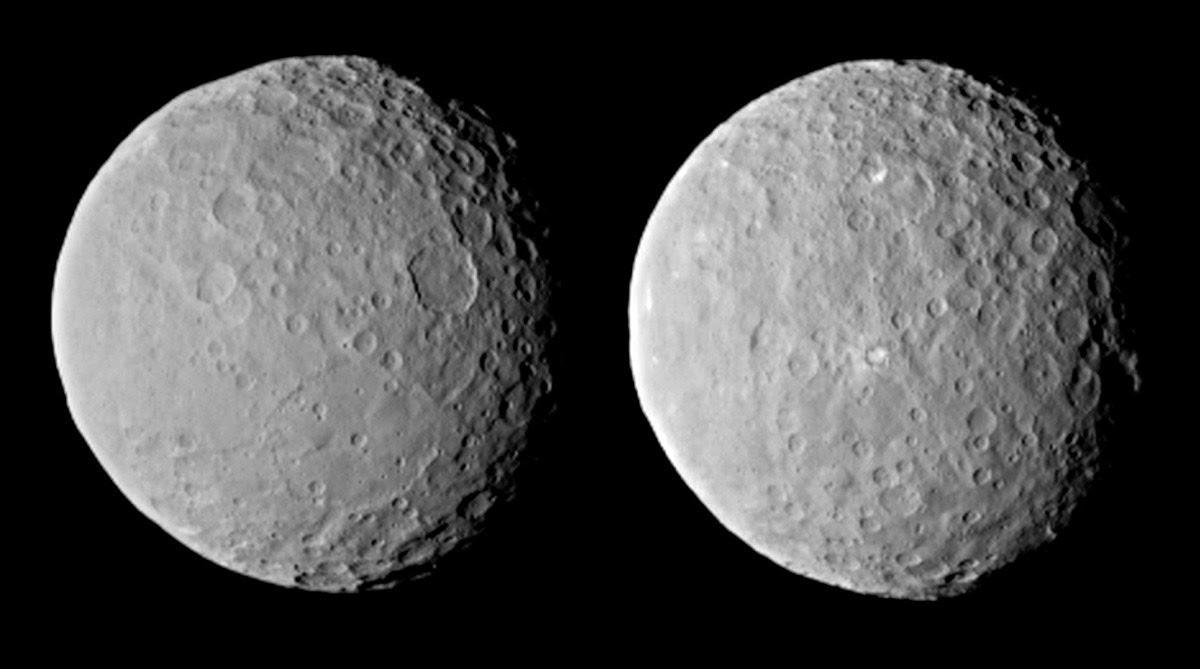 estranhos pontos brancos em Ceres