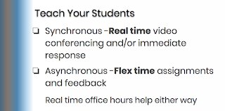 The slide says: Synchronous -Real time video conferencing and/or immediate response Asynchronous -Flex time assignments and feedback        Real time office hours help either way