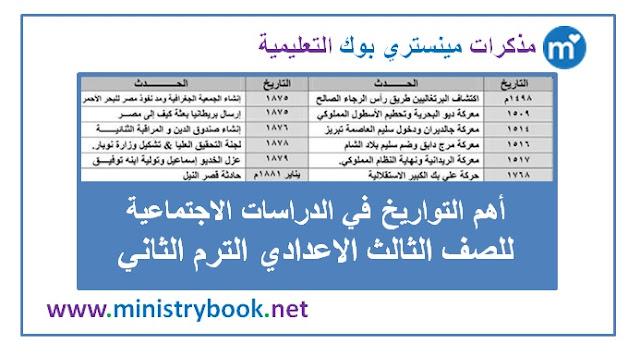 أهم التواريخ في الدراسات الاجتماعية للصف الثالث الاعدادي ترم ثاني 2019-2020-2021-2022-2023-2024-2025