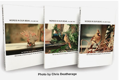 """This is a photo of my three volume book series, """"Words In Our Beak."""" Information re the books is another one of my blog  posts @ https://www.thelastleafgardener.com/2018/10/one-sheet-book-series-info.html TITLE TEXT: Photo by Chris Deatherage."""