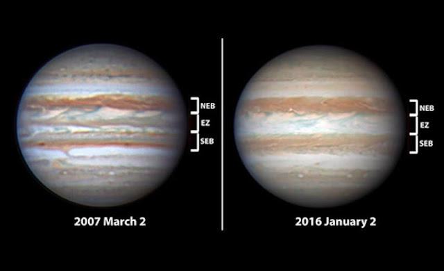 Planetary astronomers identify cycle of spectacular disturbances at Jupiter's equator