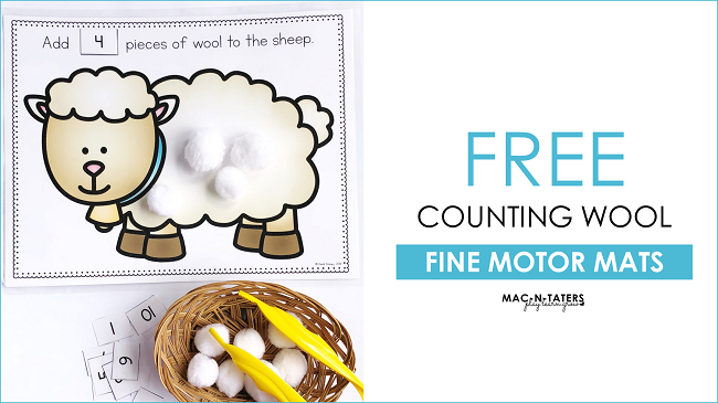Sheep Counting Wool Fine Motor Activity FReebie