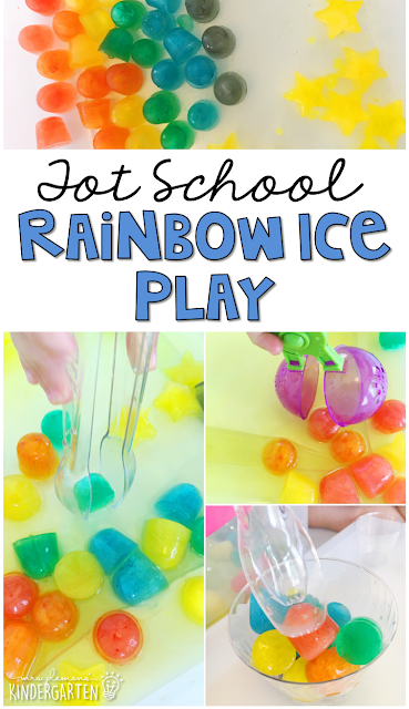 We LOVE this rainbow ice play sensory bin for our weather theme. Great for tot school, preschool, or even kindergarten!