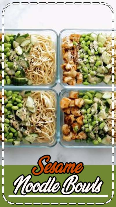 Meal Prep Sesame Noodle Bowls! Fork-twirly noodles, an easy creamy sesame sauce, perfect browned chicken, and all the veg. YUM. #mealprep #sesame #noodles