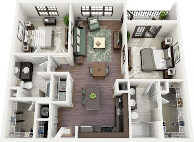 cute two bedroom 3d floor plans with double bedroom sets