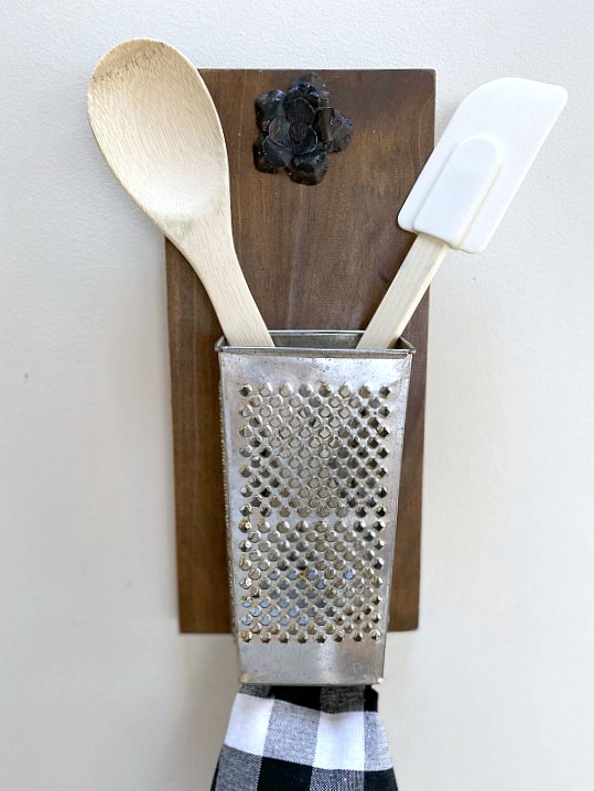 Antique cheese grater kitchen organizer