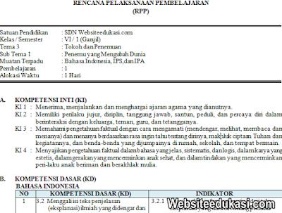 RPP Kelas 6 Tema 3 Kurikulum 2013 Revisi 2019
