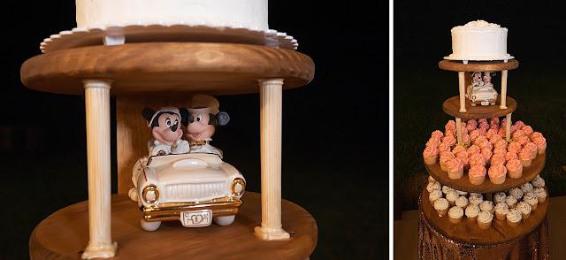 Detail ahot of Mickey and Minnie Disney wedding cake Magnolia Manor Wedding Photos by Stuart Wedding Photographer Heather Houghton Photography
