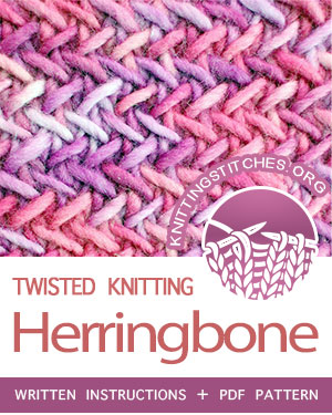 TEXTURED STITCHES — #howtoknit the Herringbone stitch. FREE written instructions, PDF knitting pattern.  #knittingstitches #knit