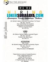We Are Hiring at Pro-Tax Advisory Surabaya June 2020