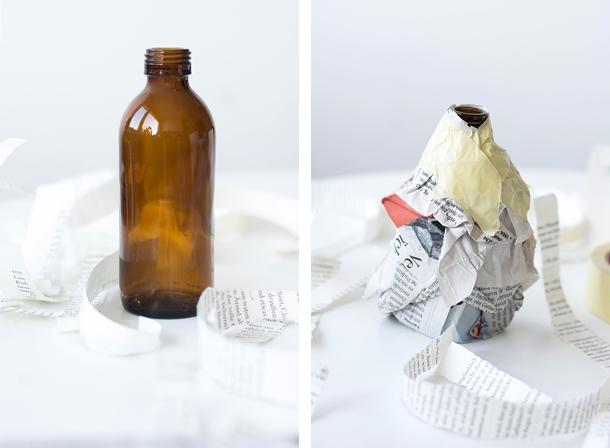 nachmachtipp pappmach vasen aus flaschen und buchseiten sinnenrausch der kreative diy. Black Bedroom Furniture Sets. Home Design Ideas