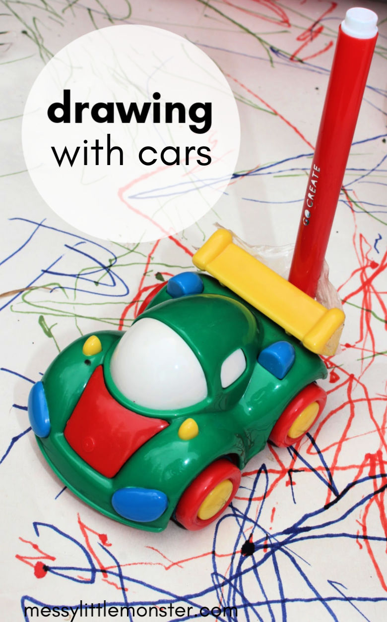 mark making activities for toddlers - toddler drawing with cars
