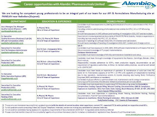 Career opportunities at Alembic Pharmaceuticals Limited