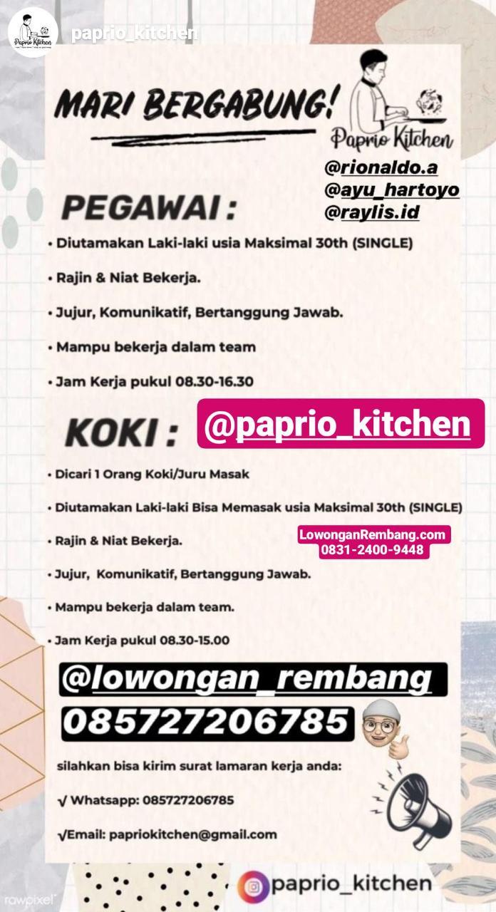 Lowongan Kerja Pegawai Dan Koki Paprio Kitchen Sumberjo Rembang