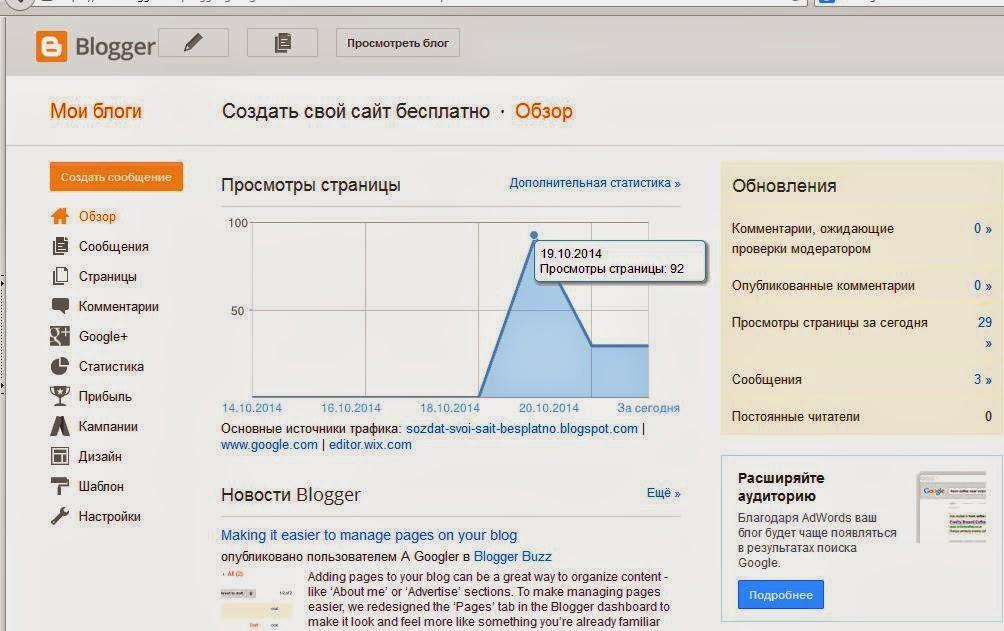 панель администрирования Blogger