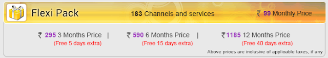 Videocon D2H Removed Flexi Pack of Rs.99 Per Month