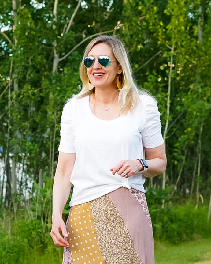 white tee + printed skirt