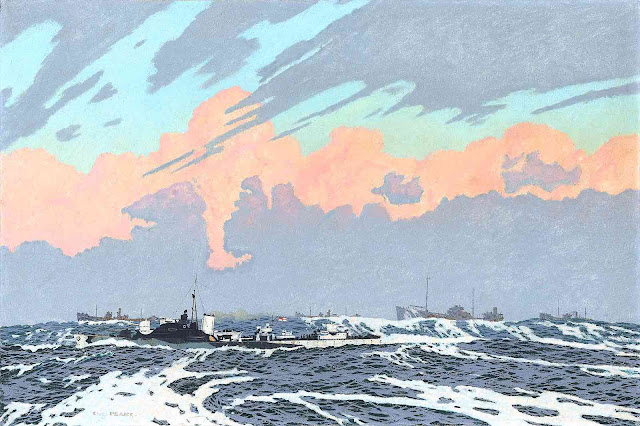 a Charles Pears illustration of ships at sea in war