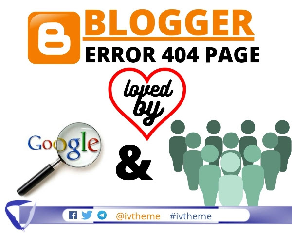 blogger logo with error 404 text and Google Search iCon