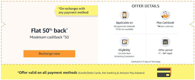 Amazon Recharge Offer - Get Rs. 100 Recharge in Just Rs. 50
