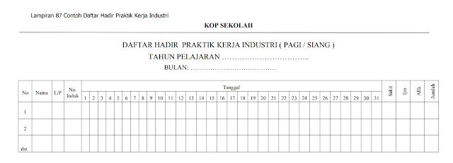Contoh Daftar Hadir Praktik Kerja Industri (Pagi dan Siang)