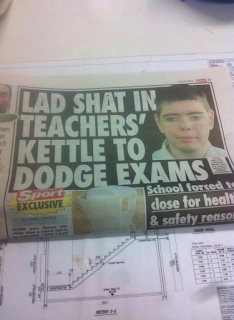 lad shat in teachers kettle to dodge exams
