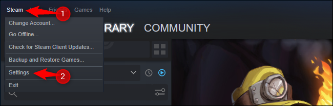 انقر فوق Steam> الإعدادات.