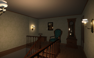 A gameplay screenshot showing the same landing above the stairway but with brighter lighting.