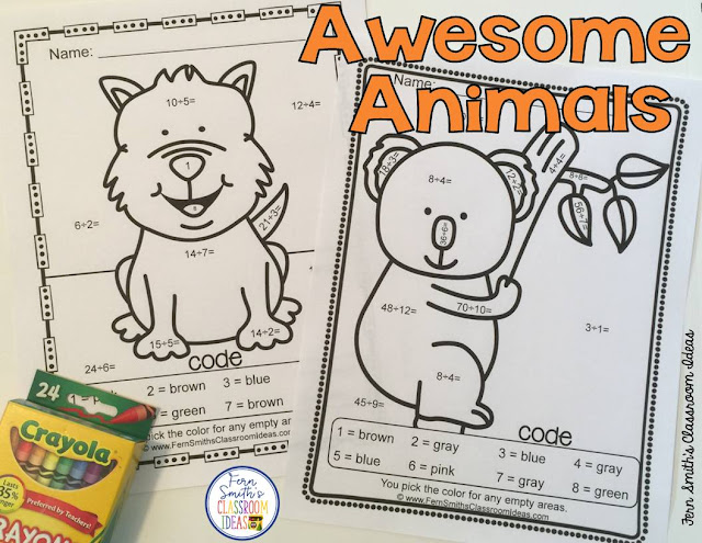 Children love animals, just ask them about their pets. If they have no pets, ask them what type of pet they would like, their imagination can amuse you for hours. Unicorns, sharks, cows, horses, hamsters, their possibilities are endless. Awesome Animals color by numbers from #FernSmithsClassroomIdeas