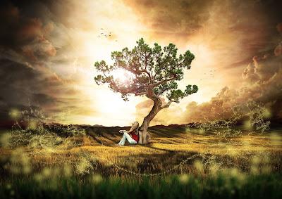 Καθισμένη γυναίκα, στηρίζεται σε δέντρο. Ακολουθεί το κείμενο: Aπλώνω σαν κλαδιά, σα φύλλα, εντυπώσεις γύρω στο κορμί μου, αναμνήσεις θρουν, κρούονται, κινούνται ήσυχα ή σφοδρά.  Mοιάζουν ίδια τα κλαδιά, όμως ο άνεμος της ζωής με παιχνίδια και με φώτα, δείχνει τη διαφορά τους.  Mοιάζουν κι όλες οι μέρες που περνούν απάνω μου. Mε τριγυρίζ' η μέρα, η νύχτα μ' αγκαλιάζει.  Λυγούνε τα κλαδιά, τα φύλλα, οι αναμνήσεις, οι εντυπώσεις μου συγκρούονται φωλιάζουν μυστικά πουλιά, φωνές κρυφές, στα πιο πυκνά, πυκνόφυλλα κλαδιά της φαντασίας.  Σα φτάσει η καταιγίδα ο στολισμός μου δέρνεται. Όρθιο το κορμί στυλώνεται, μένει ακίνητη ψυχή κι αυξαίνει, σα ν' αδιαφορεί για την περιβολή μου...  που παρέρχεται και θα ξανάρθει, μαραίνεται και πέφτει, για να φουντώσει πάλι η ζωή μου.